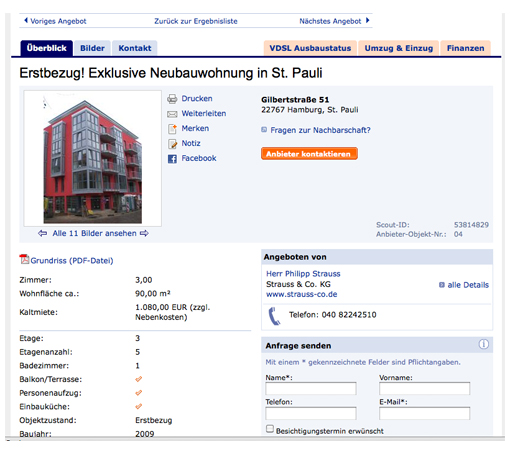 Anzeige auf immobilienscout24