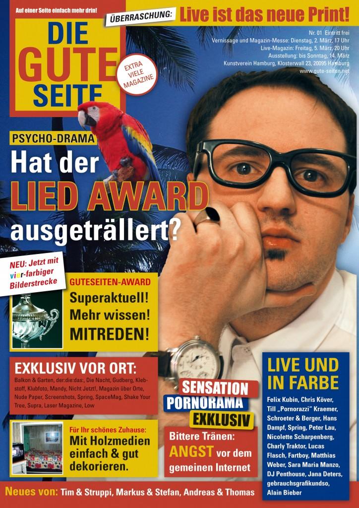 """""""Die Gute Seite"""" Flyer vom Live Magazin in der Kunsthalle"""
