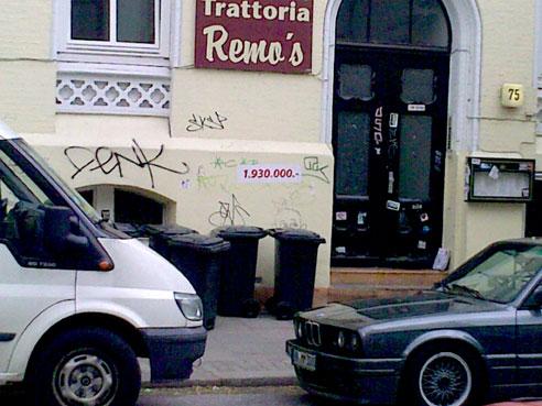 1.390,000 € für Trattoria Remo. Wer ne Pizza will zahlt 10% des VK Preises
