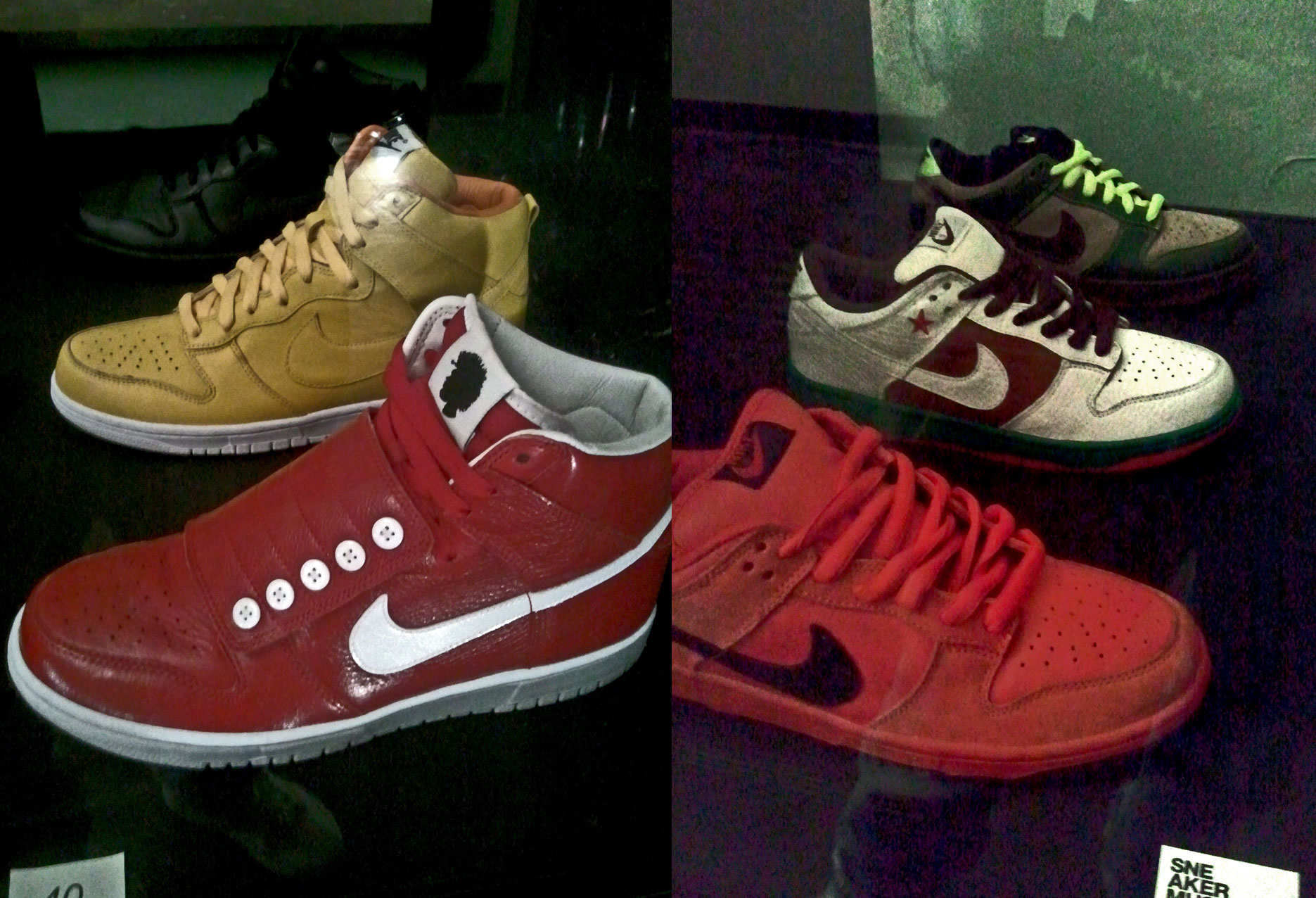 Dunk High Questlove (black, red, yellow), Dunk Low Pro SB True Red, Dunk Low Pro SB Cali, Dunk Low Pro SB Jedi