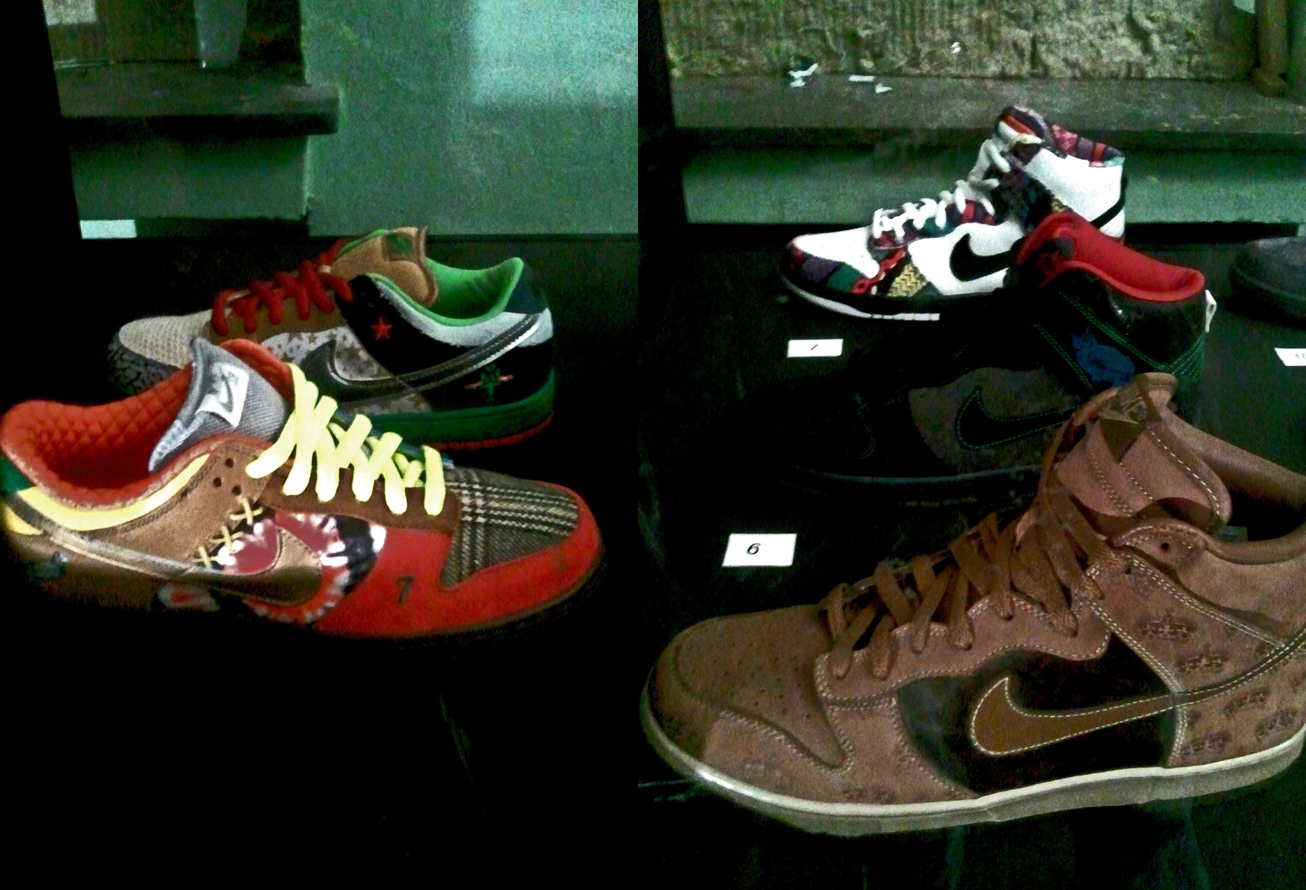 v.l.n.r. unten nach oben: Nike Low Pro What the Dunk (2x), Nike Dunk High Mighty Crown, Dunk High Pro SB Twin Peaks, Dunk High Pro SB Huxtable 